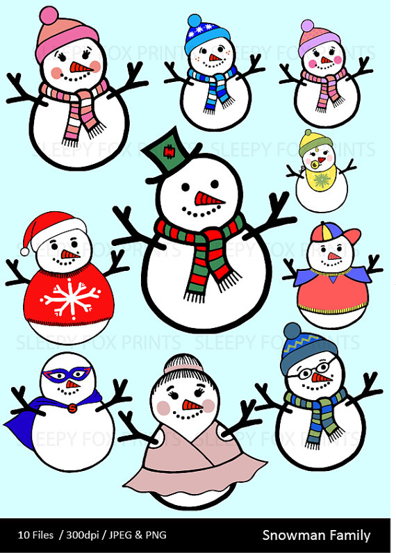 Holydays clipart snowman family Clipart Baby Illustration Hand Christmas