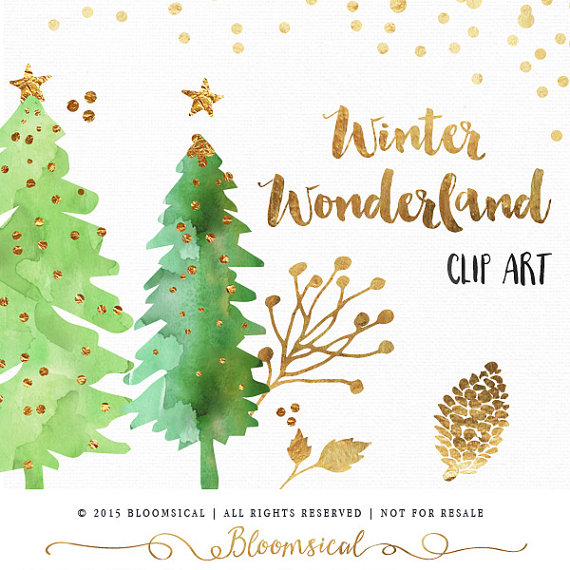 Holydays clipart winter wonderland Clip Digital Holiday Watercolor Winter