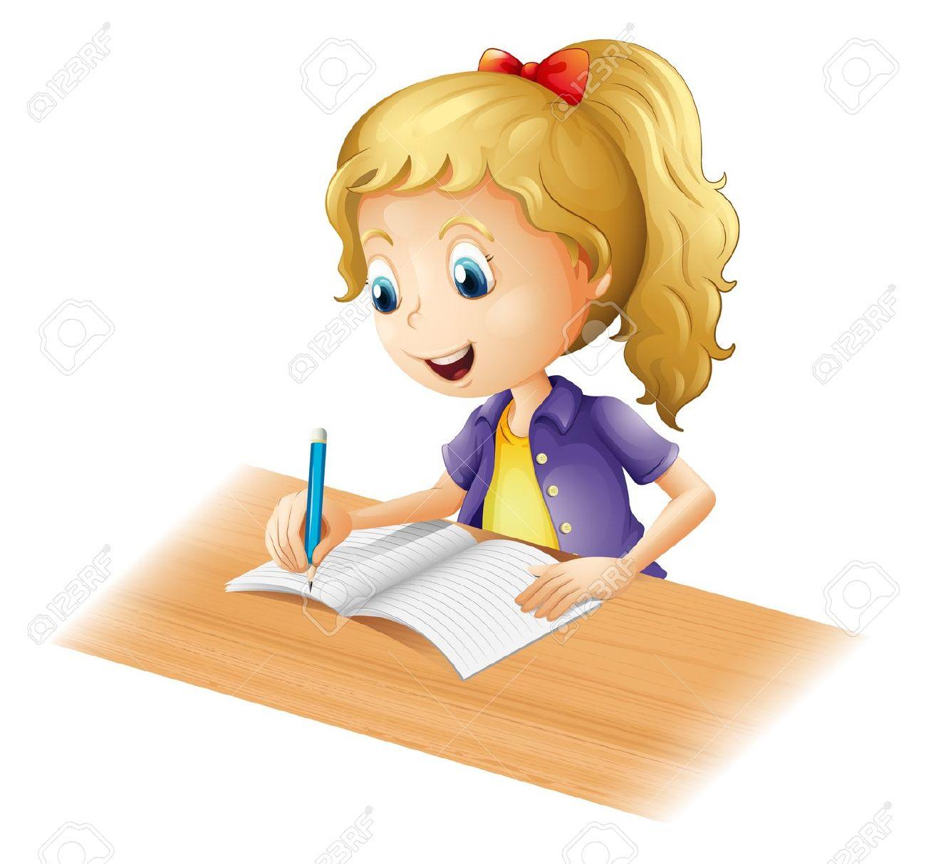 Illustration clipart une Homework homework Girl clipart Girl