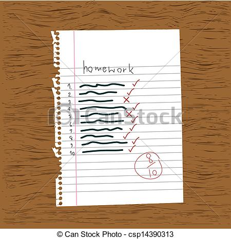 Notebook clipart homework paper Art homework of collection Vector
