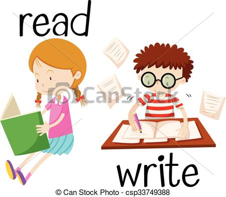 Homework clipart reading and writing Boy boy writing illustration reading