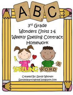 Homework clipart spelling homework  3rd (Editable) Spanish) Spelling
