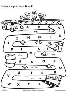 Maze clipart round Alphabet to worksheet Path A