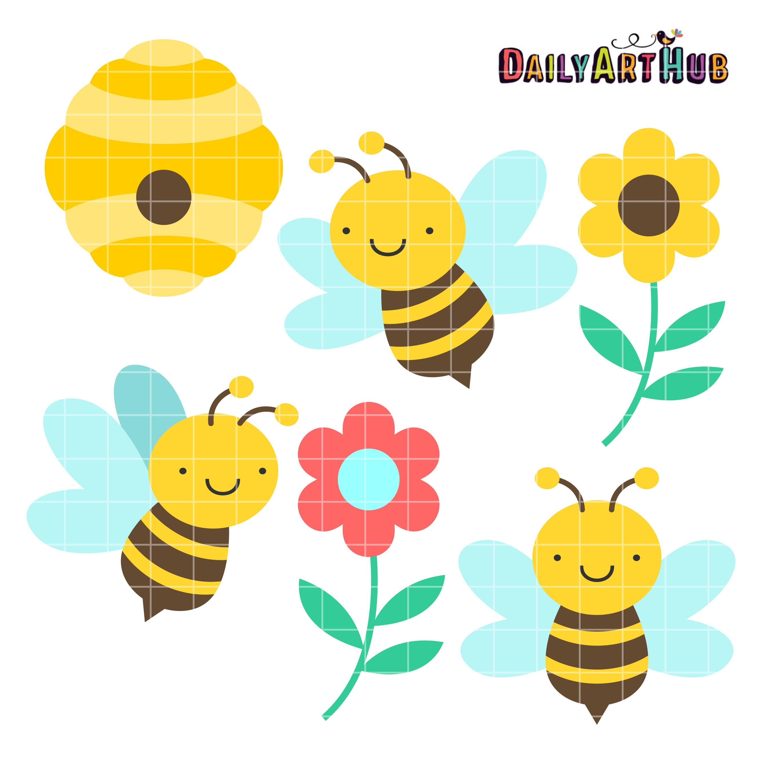Honey clipart cute Hub Bees Set Art Clip