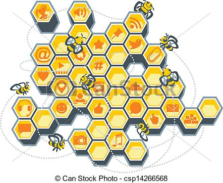 Bee Hive clipart honeycomb  Social Art of Illustration