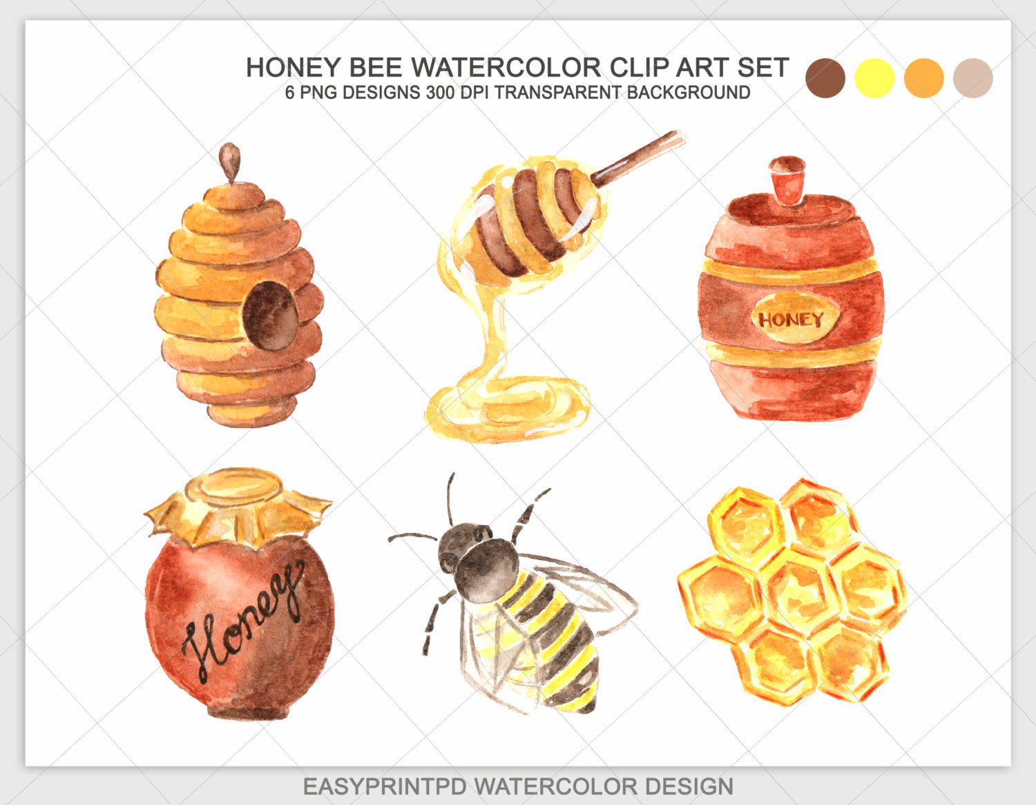 Bee Hive clipart honeycomb Watercolor Bee Etsy clipart Digital