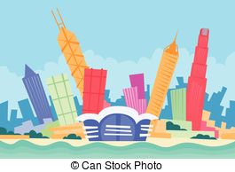 Hongkong clipart Hong Kong Flag Skyline Silhouette Skyscraper skyline
