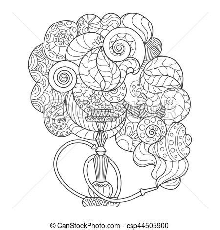 Hookah clipart abstract Coloring book hookah vector Clipart