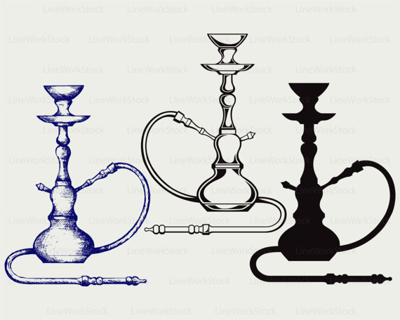 Hookah clipart black and white Hookah designs clip LineWorkStock from