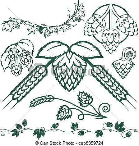 Hop clipart vector Of collection Collection Hops EPS