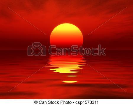Ocean clipart ocean sunset  sunset of Illustration sunset