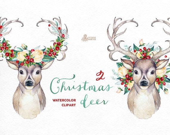 Country clipart reindeer Watercolor horns flowers clip Deer
