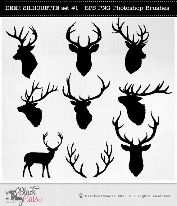 Hunting clipart deer head Reindeer PNG vector and Brushes