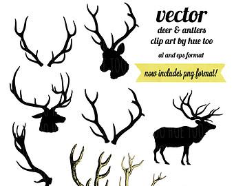 Buck clipart elk antler Vector antler clipart Antlers clipart