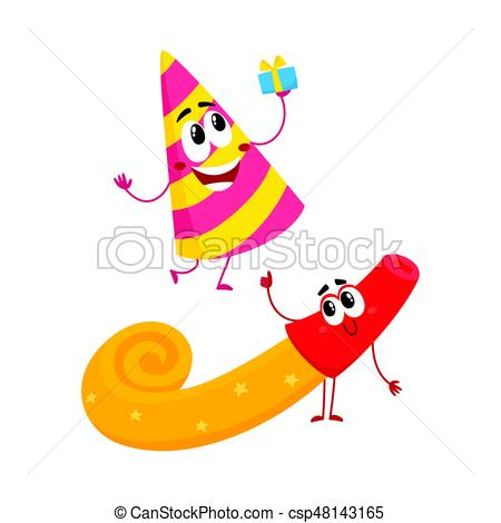 Birthday clipart blower Vector maker and spriped hat