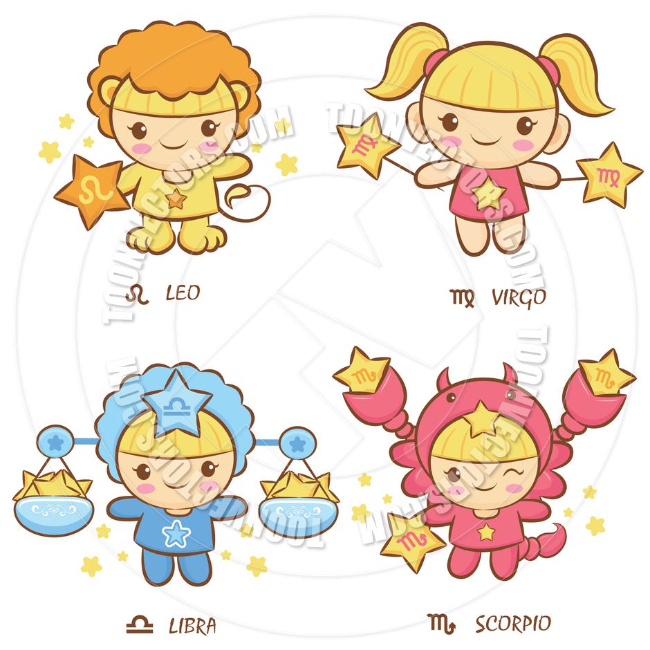 Zodiac Sign clipart cartoon Leo Virgo Libra Scorpio Virgo