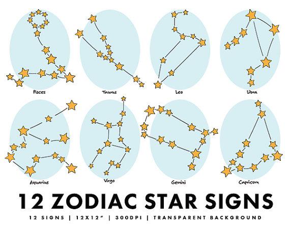 Zodiac clipart astrological sign Horoscope Set Clip Signs Art