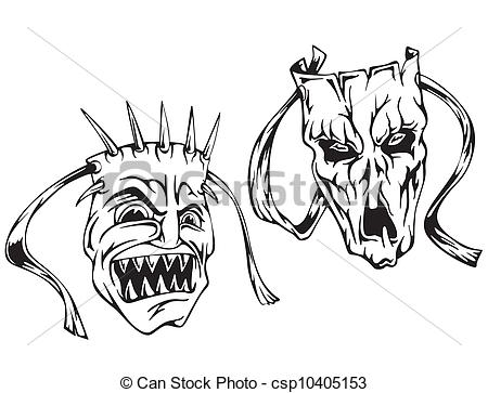 Horror clipart black and white Vector  Set csp10405153 Clipart