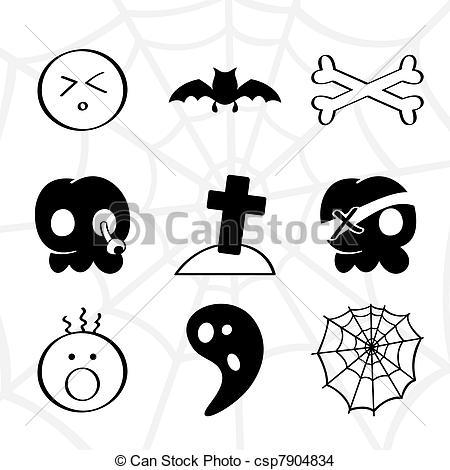 Horror clipart black and white · elements design Illustration skull
