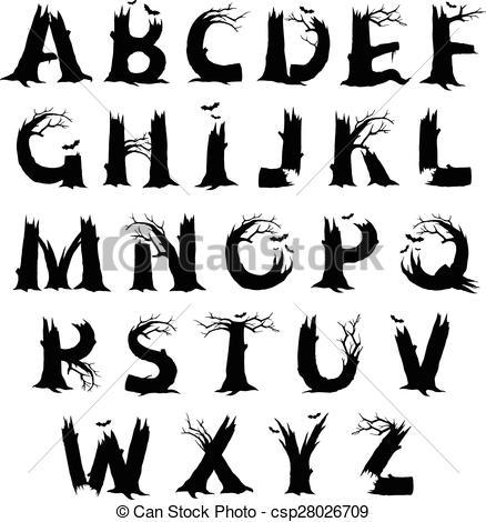 Horror clipart black and white Letters 208 67 Horror horror