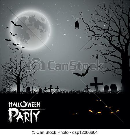 Horror clipart halloween bash 121 background Vector EPS Art