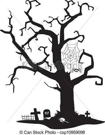 Spooky clipart mortality Illustration free Tree stock Halloween