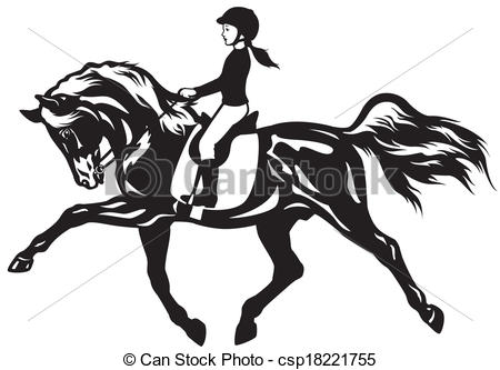 Horse Riding clipart black and white Kid of horse view riding