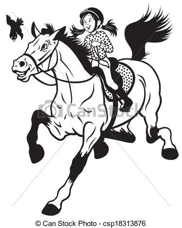 Horse Riding clipart black and white Cartoon Illustration riding white girl