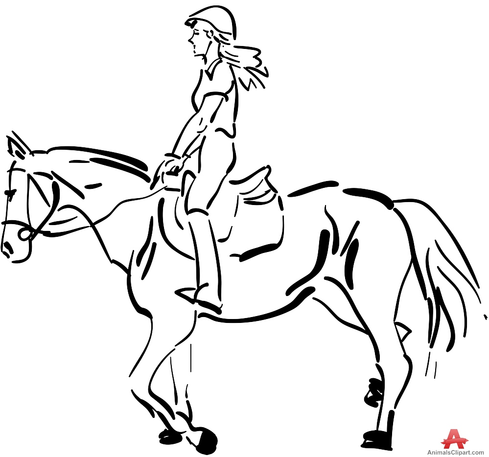 Horse Riding clipart black and white Horse Rider Clipart Rider Outline