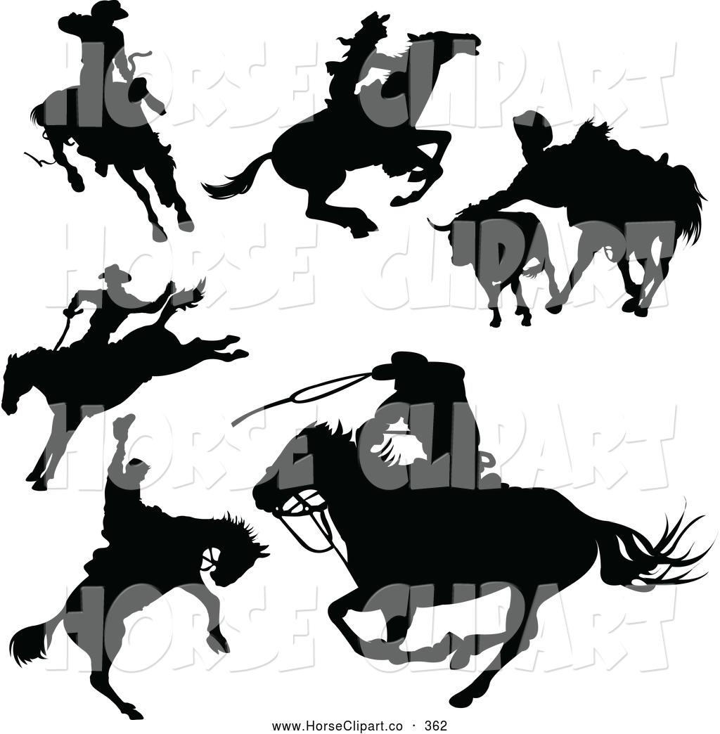 Horse Riding clipart cowboy horse Riding Silhouettes Digital a Horseback