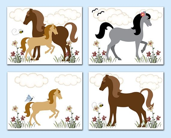 Horse Riding clipart little cowgirl Childrens Animals Stickers on DECALS