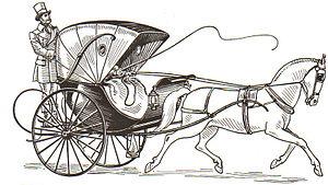 Drawn trolley unicorn (carriage) Cabriolet