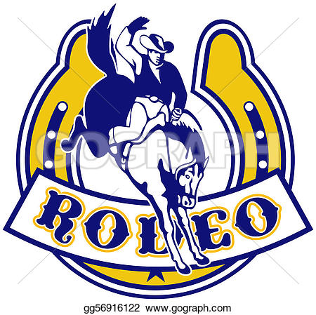 Horseshoe clipart bronco A cowboy illustration style with