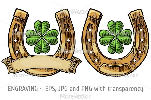 Horseshoe clipart good luck Text luck clover good Four