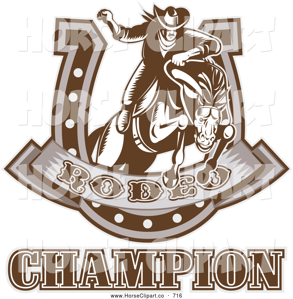 Horseshoe clipart rodeo Brown Rider Art Rodeo Champion