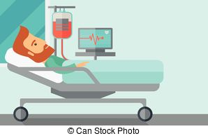Bed clipart hospital Bed sick in monitored illustration