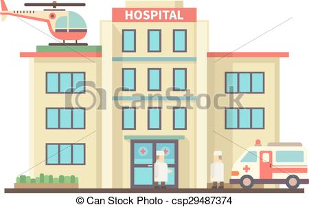 Building clipart hospital building Of style building  Illustration
