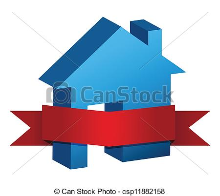 House clipart banner And illustration red design red