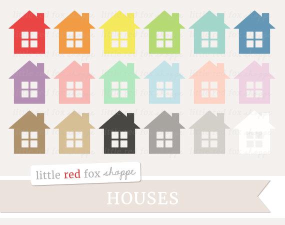 House clipart banner LittleRedFoxShoppe Shape Art Digital Clipart