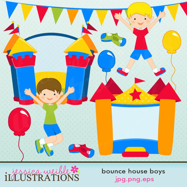House clipart banner Including: houses Bounce inflatable 2