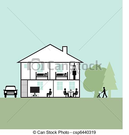 Hosue clipart cross section Family family home home