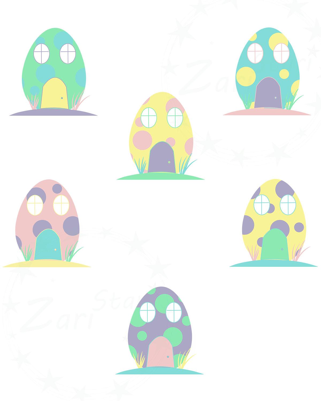 Hosue clipart easter bunny Digital Easter Easter Egg House