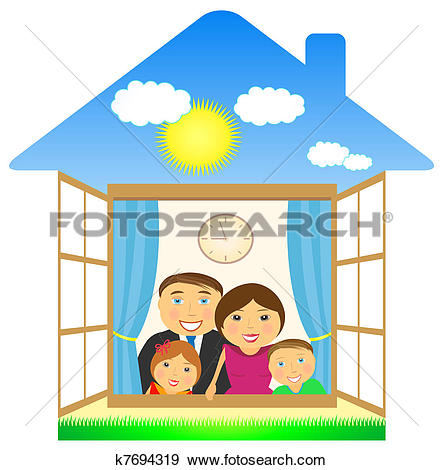 Hosue clipart home and family House clipart with family family