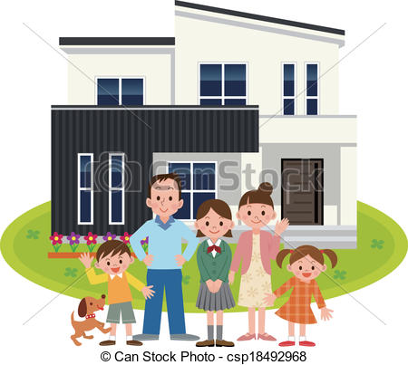 Hosue clipart home and family Art Vector My Happy Family