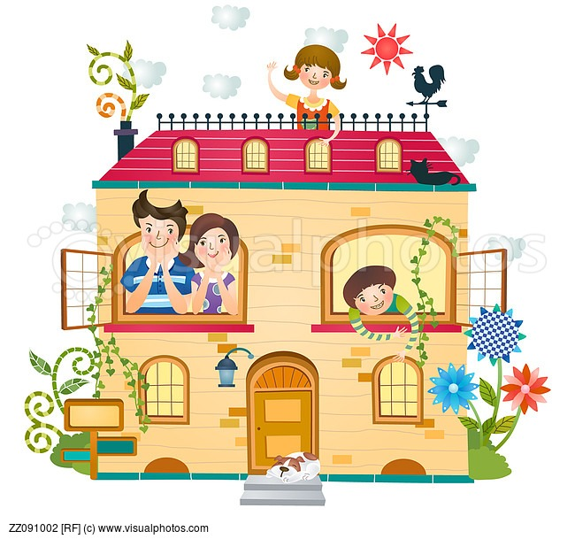 Hosue clipart home and family Family at home clipart clipart