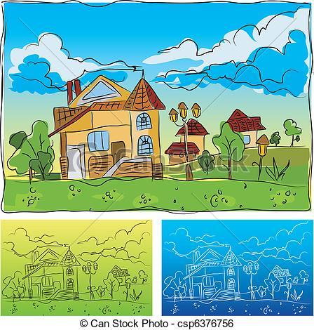 Hosue clipart kindergarten Kindergarten Landscape Kindergarten Vector csp6376756
