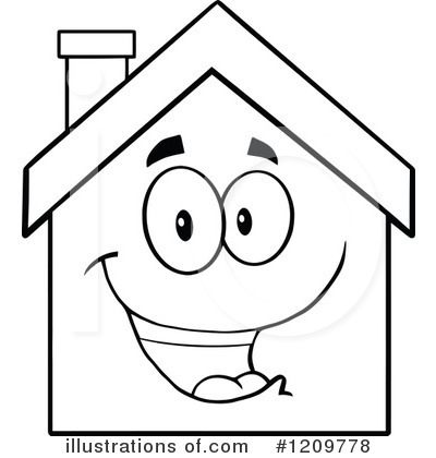 Hosue clipart line drawing #11