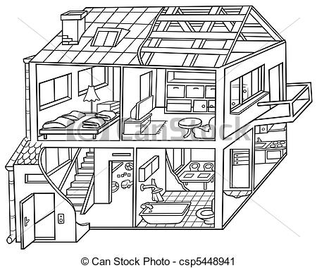 Hosue clipart line drawing  Cartoon House Black House