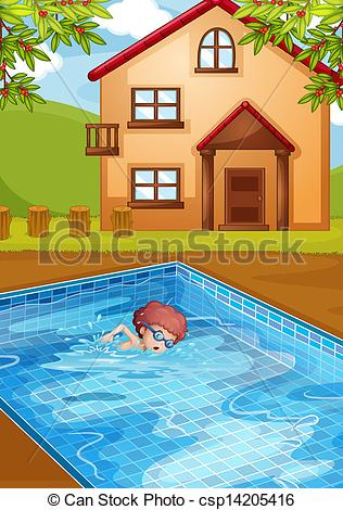 Hosue clipart pool Vector in pool his at