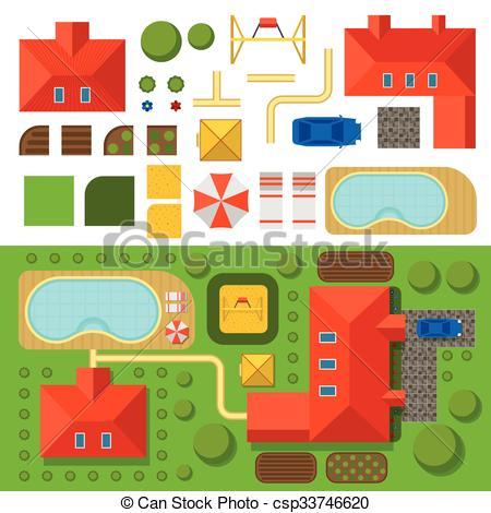 Hosue clipart pool Illustration garden garden and house